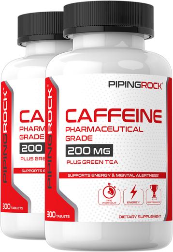 Caffeine Plus Green Tea, 200 mg, 300 Tablets x 2 Bottles