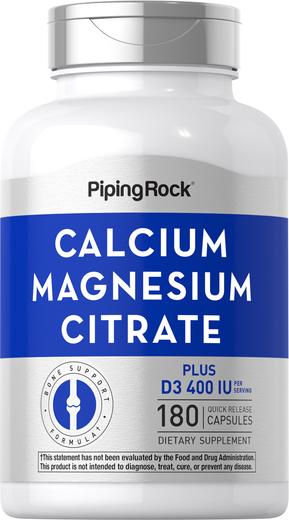 Calcium Magnesium Citrate Plus D Cal 300 mg/Mag150 mg/D3 400 IU 180 Capsules