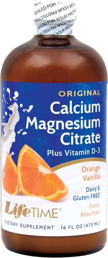 Cytrynian magnezu i wapnia z witaminą D3 w płynie (pomarańcza, wanilia) 16 fl oz (473 mL) Butelka