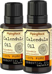 100% Pure Calendula Essential Oil 2 Dropper Bottles x 1/2 oz (15 ml)