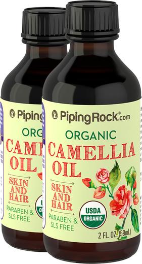 Olej kameliowy o 100% czystości, tłoczony na zimno (Organiczne) 2 fl oz (59 mL) Butelki