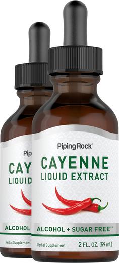 Extrato líquido de caiena, 2 fl oz (59 mL) Frasco conta-gotas, 2  Frascos conta-gotas