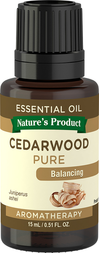 Cedarwood Pure Essential Oil (GC/MS Tested), 1/2 fl oz (15 mL) Bottle