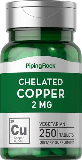 Quelato de cobre (quelato de aminoácidos), 2 mg, 250 Comprimidos