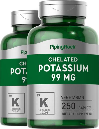 Quelato de potássio (gluconato), 99 mg, 250 Comprimidos oblongos, 2  Frascos