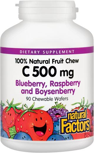 Tabletki do żucia z witaminą C 500 mg (naturalna jagoda, malina, boysenberry) 90 Wafle do żucia