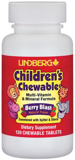 Zestaw witamin i minerałów dla dzieci w pastylkach do żucia (naturalne jagody) 120 Tabletki do żucia