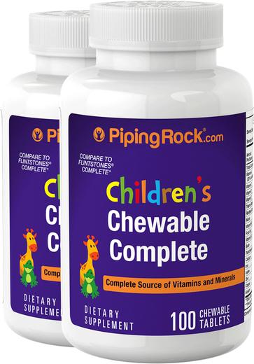 Nutrição Diária Infantil Completa, 100 Comprimidos mastigáveis, 2  Frascos