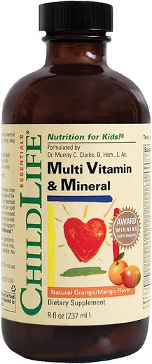 Multiwitamina i minerały w płynie dla dzieci, o smaku pomarańczy i mango 8 fl oz (237 mL) Butelka