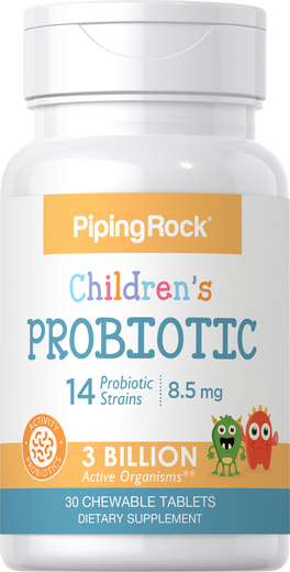 Probiotyk dla dzieci zawierający 14 szczepów i 3 miliardy mikroorganizmów (naturalny, jagoda) 30 Tabletki do żucia
