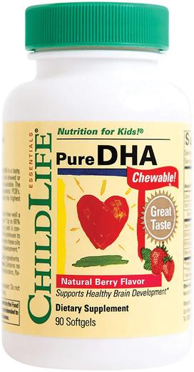 DHA puro mastigável natural infantil com sabor a frutos silvestres 90 Cápsulas gelatinosas