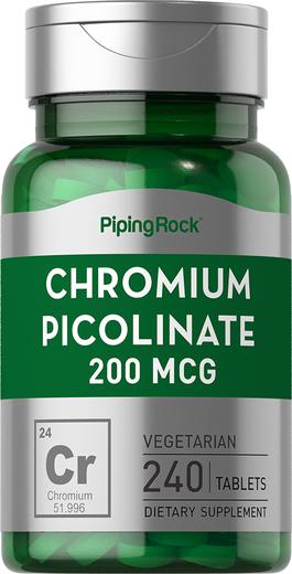 Picolinato de cromo , 200 mcg, 240 Comprimidos