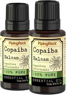 100% Pure Copaiba Balsam Essential Oil 2 Dropper Bottles x 1/2 oz (15 ml)