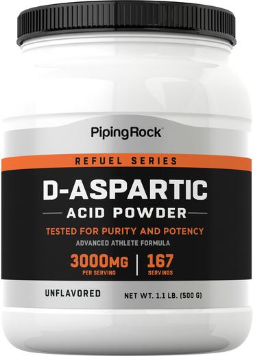 Ácido Aspártico D em pó, 3000 mg, 500 g (17.64 oz) Frasco