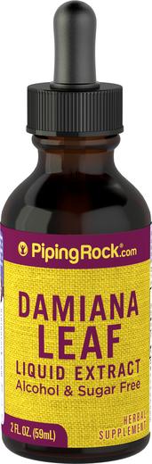 Extrait liquide de feuille de Damiana sans alcool 2 fl oz (59 mL) Compte-gouttes en verre
