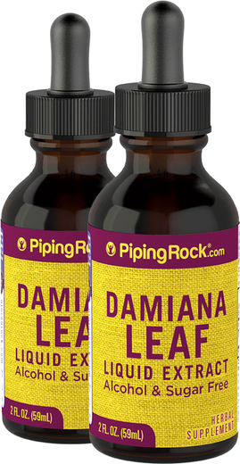 Extrait liquide de feuilles de damania sans alcool 2 fl oz (59 mL) Compte-gouttes en verre