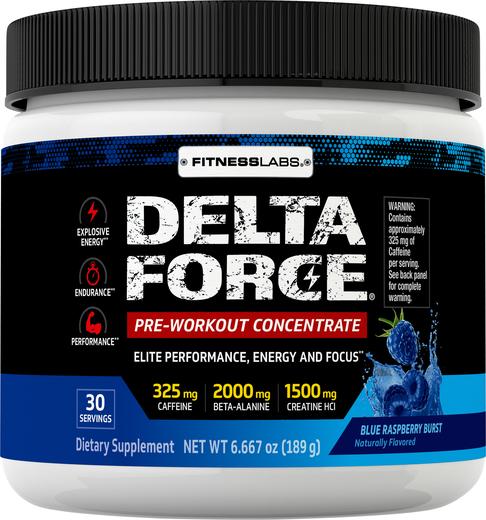 Przedtreningówka w proszku Delta Force (niebieska malina) 6.6 oz (189 g) Butelka