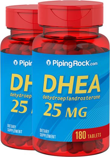 DHEA , 25 mg, 180 Comprimidos, 2  Frascos