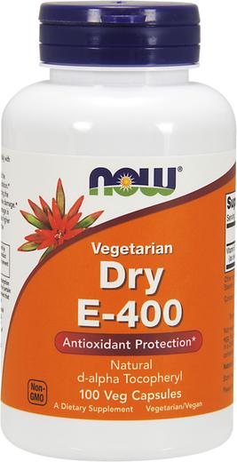Succinato de Alfa-Tocoferol D Seco E-400, 400 IU, 100 Cápsulas vegetarianas
