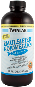 Óleo de fígado de bacalhau da Noruega emulsificado (sabor a laranja), 12 fl oz (355 mL) Frasco