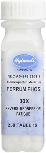 Ferrum Phosphoricum 30X 順勢療法配方用於治療發燒,感冒 250 錠劑
