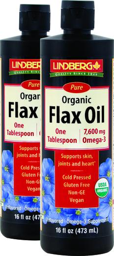 Flax Oil Liquid (Organic), 16 oz x 2 Bottles
