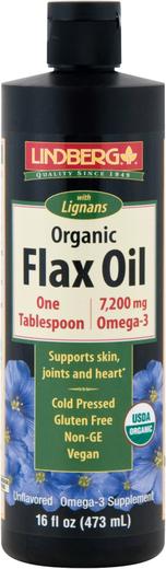 Flax Oil with Lignans Liquid (Organic), 16 fl oz