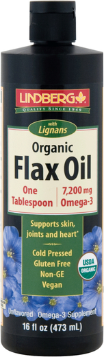 Olej lniany z lignanami (Organiczna) 16 fl oz (473 mL) Butelka
