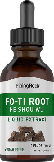Extrato líquido de raiz curada Fo-Ti (Ho-Shou-Wu), 2 fl oz (59 mL) Frasco conta-gotas