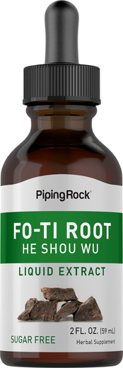 Extrato líquido de raiz curada Fo-Ti (Ho-Shou-Wu) 2 fl oz (59 mL) Frasco conta-gotas