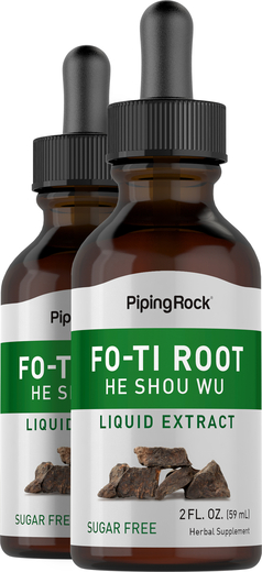 Extrato líquido de raiz curada Fo-Ti (Ho-Shou-Wu), 2 fl oz (59 mL) Frasco conta-gotas, 2  Frascos conta-gotas