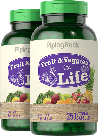 Fruit and Vegetable Supplements & Vitamins 2 x 250 Capsules