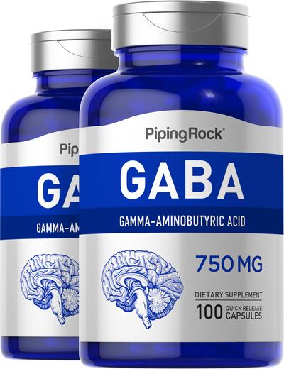 GABA 750mg 2 Bottles x 100 Capsules