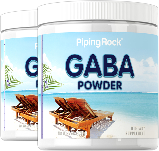 Pó GABA (ácido gama-aminobutírico), 6 oz (170 g) Frascos, 2  Frascos