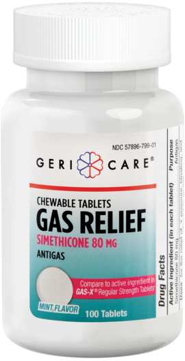 Gas Relief 80 mg 100 Chewable Tablets