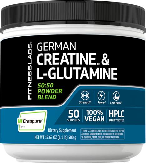 Niemiecka Monohydrat kretyny (Creapure) & L-glutamina w proszku (50:50 Mieszanka) 1.1 lb (500 g) Butelka