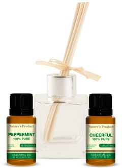 Gift Pack With Cheerful Oil & Peppermint Essential Oil + Glass Reed Diffuser 2 Essential Oils + 1 Reed Diffuser
