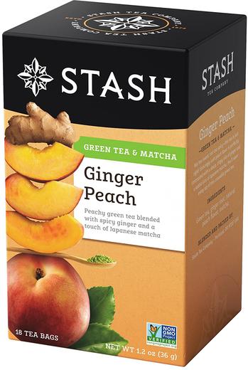 Brzoskwiniowa herbata z dodatkiem imbiru i matcha 18 Torebki do herbaty