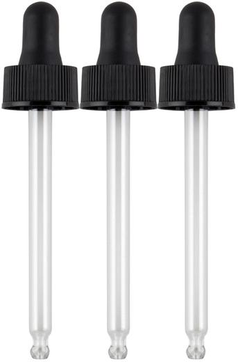 3 Conta-gotas de vidro (pode substituir frascos de 60 mil) 3 Conta-gotas