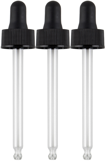 Glasspipette 3-pakning (passer til 2 oz flasker) 3 Pipette