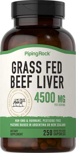 GrassFed Beef Liver 4500 mg per serving , 4500 mg, 250 Quick Release Capsules