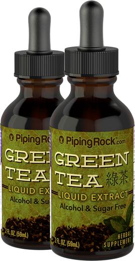 Extrato Líquido de Chá Verde, 2 fl oz (59 mL) Frasco conta-gotas, 2  Frascos conta-gotas