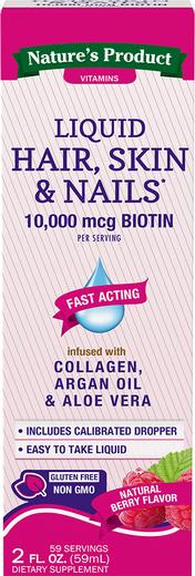 Hair, Skin & Nails with Biotin Liquid (Natural Berry) , 2 fl oz (59 mL) Bottle