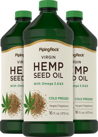 Óleo de sementes de cânhamo (pressão a frio), 16 fl oz (473 mL) Frascos, 3  Frascos