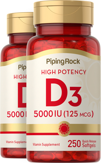 Vitamin D3 5000 IU 2 Bottles x 250 Softgels
