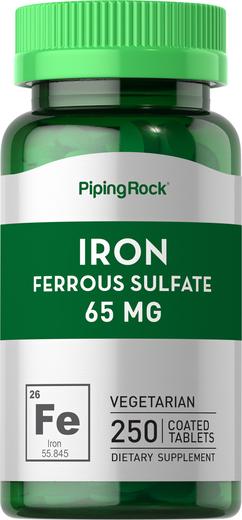 Sulfato ferroso de ferro , 65 mg, 250 Comprimidos revestidos