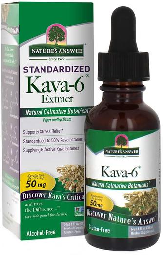Płynny ekstrakt z Kava Kava 6 bez alkoholu 1 fl oz (30 mL) Butelka z zakraplaczem
