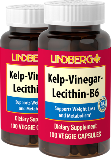 Kelp - Vinegar - Lecithin - B6, 100 Caps x 2 Bottles