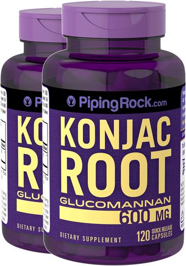 Konjac Root Glucomannan 600mg 2 Bottles x 120 Capsules