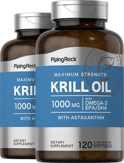 Krill Oil 1000 mg, 120 Softgels x 2 Bottles